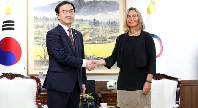 Unification Minister Cho meets with EU High Representative for Foreign Affairs 관련된 이미지 입니다